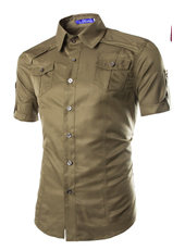 Handsome Stand Collar Male Short Shirt in Army Green M,L,XL,XXL MH10001