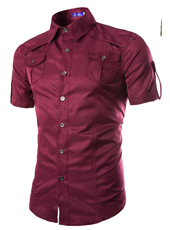 Handsome Stand Collar Male in Wine Red M,L,XL,XXL MH10002