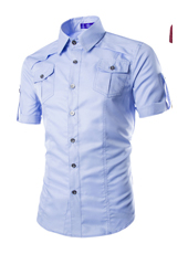 Handsome Stand Collar Male in Sky Blue M,L,XL,XXL MH10005
