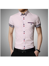 Light Pink Casual Chic Men Cotton Short Sleeves Shirt  M,L,XL,2XL,3XL,4XL MH10006