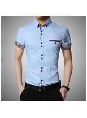 Light Blue Casual Chic Men Cotton Short Sleeves Shirt M,L,XL,2XL,3XL,4XL MH10007