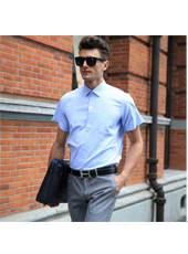 Simple Handsome Collar Male in Light Blue S-4XL  MH10008