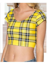 Yellow Grid Printed Short Sleeve Crop top MH8007