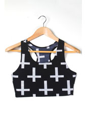 Printed 十 characteristic Sleeveless Crop Top S,M,L,XL, MH8008
