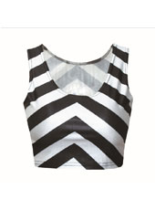 Stripped Sleeveless Crop Top MH8009
