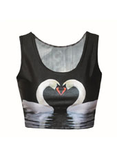 Printed Swan Style Sleeveless Crop Top MH8012