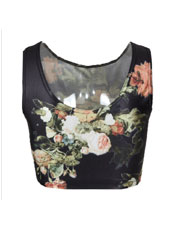 Printed Flower Style Crop Top S,M,L,XL MH8020