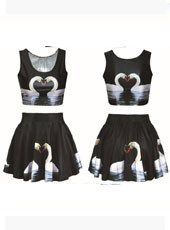 Printed Swan Style 2Pcs Set MH8028