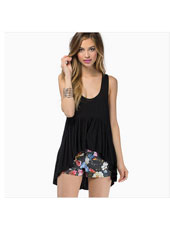 Black sleeveless short front long back S-XXL MH8157