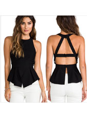 Black sexy halter backless shirt S,M,L,XL MH8158