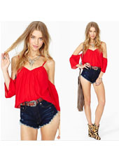 Red off shoulder chiffon shirts XS,S,M,L,XL MH8160
