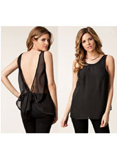 Black backless chiffon sleeveless shirt S,M,L,XL MH8163