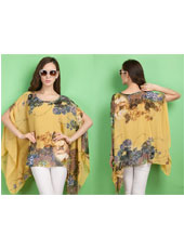 Yellow flower printed batwing sleeve shirt MH8164