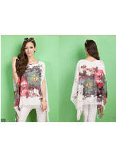White flower printed batwing sleeve shirt MH8165