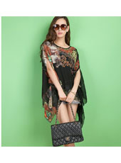Black flower printed batwing sleeve shirt MH8166
