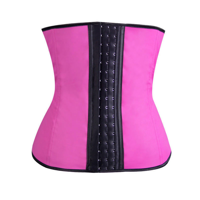 9 Steel Bones Pink Latex Waist Cincher S-3XL MH1002