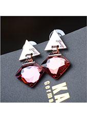 Triangle Style With Red Crystal Earings MH9005