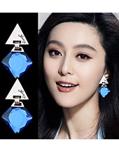 Triangle Style With Blue Crystal Earings MH9004