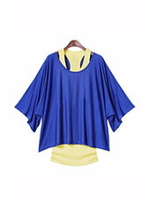 Blue Loose Top Batwing T-Shirt Plus Summer Vest S-XXL MH0002