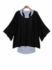 Black Loose Top Batwing T-Shirt Plus Summer Vest (S-XXL) MH0003