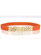 Orange leather waist belt MH9036