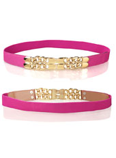 Pink leather waist belt MH9037