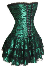 Three pcs green corset dress S-XXL MH1117