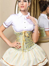 Yellow steel bone underbust corset S-XXL MH1142