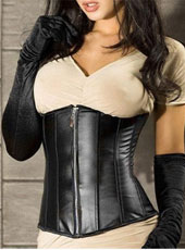 Sexy Zipper Front Leather Underwear Corset S-XXL  MH1166