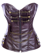 Coffee PU Steel Boned Corset   S-XXL  MH1179