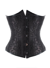 Black Floral Pattern 24 Steel Bones Hook Eyes Underbust Corset  xs-6xl  MH1199