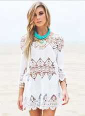 White Hollow out Beach Dress MH2474