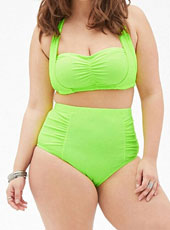 Green Plus Size High Waist Fat Women Bikini 3XL-5XL MH2444