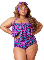 Two Pieces Purple Halter bikinis XL-4XL MH2456