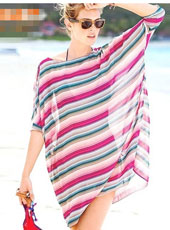 Middle Sleeve Pink and Blue Beach Dress MH2483