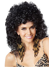 Syntheti 100% High Temperature Black Long Curly hair wig MH15002