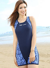 Sleeveless Blue Workpachted Beach Dress M-2XL MH2600