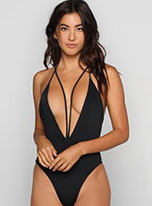 Black Open Bra One Piece Swimwear  S-L MH2609