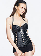 Black Halter Steel bone Leather Corset S-XXL MH1298