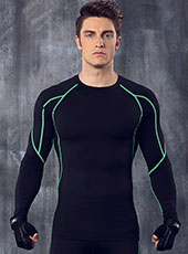 Long Sleeve Green Edge Tight Sport Tops M-XL MH4306
