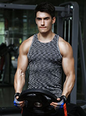 Grey Seamless Fitness Sport Tank Top M-XL MH4309