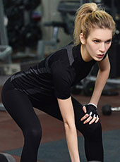 Women Seamless Black Gym Sport T-shirts M-L MH4340