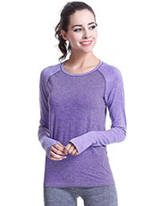 Long Sleeve Purple Women Yoga Sport Tops M-L MH4343
