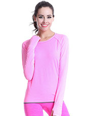 Long Sleeve Pink Women Yoga Sport Tops M-L MH4344