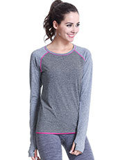 Long Sleeve Grey Women Yoga T-shirts M-L MH4342