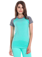 Short Sleeve Green Women Sport T-shirts M-L MH4348