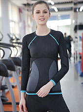 Black Long Sleeve Sport Top Wear M-L MH4349