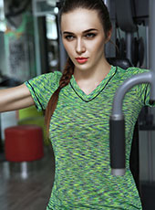 Women Green Short Sleeve Sport Shirts M-L MH4357