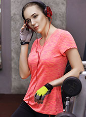 Women Orange Short Sleeve Sport Shirts M-L MH4358