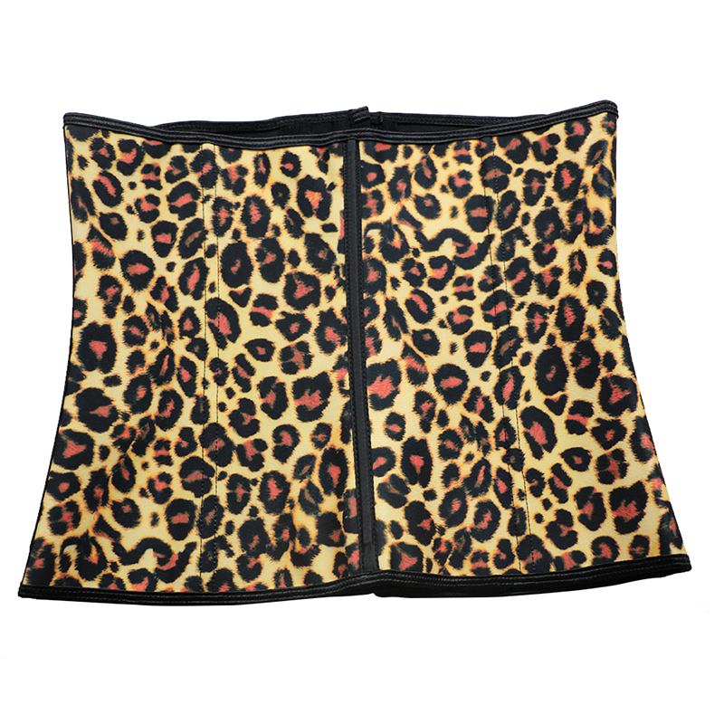 Yellow Leopard Print 9 Steel Boned Latex Corset S-3XL MH1056